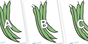 A-Z Alphabet on Green Beans - A-Z, A4, display, Alphabet frieze, Display letters, Letter posters, A-Z letters, Alphabet flashcards