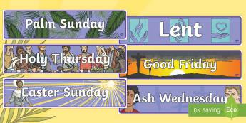 Lent Display Banners  - lent palm sunday, holy thursday, maundy thursday, good friday, palm sunday, easter sunday, ash wedne