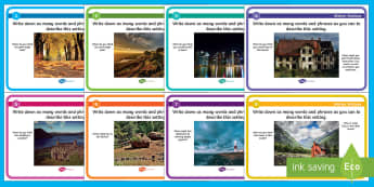 Setting Inspiration Blether Stations-Scottish - CfE Literacy, writing, setting inspiration, blether stations, setting, scene setting, vocabulary, ad