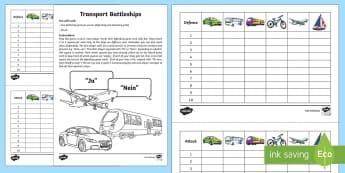 Transport Battleships Game German - Transport, Travel, Game, Battleships, German, Verkehrsmittel, MFL, Languages