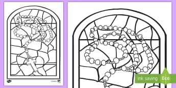 Stained Glass Month of the Holy Rosary Colouring Page - mary, rosary, communion, October, catholic,