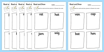 Read and Draw CVC Worksheets - read, draw, read and draw, CVC, CVC worksheets, reading worksheets, drawing worksheets, worksheets, drawing, reading, art