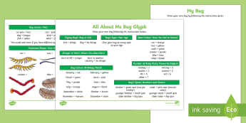 All About Me Bug Glyph Activity Sheet - New Zealand, Back to School, glyph, bugs, all about me, new school, new class, new term, new year, r