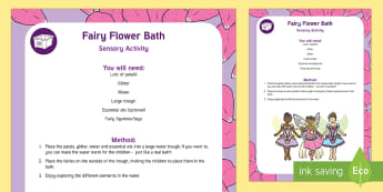 Fairy Flower Bath Sensory Activity - spring sensory, sensory play, spring activities, spring, spring theme, eylf, sensory activities, Aus