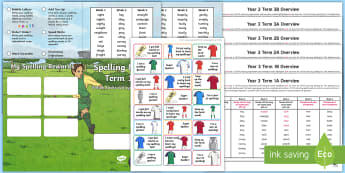 Year 3 Football Themed Spelling Menu Pack - spag, gps, home learning, weekly, lists, test,