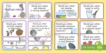 Would You Rather...? Earth and Space Sciences F-2 Question Cards  - ACSSU004, weather, seasons, ACSSU019, celestial observation, sky, moon, stars, ACSSU032, natural res