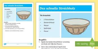 Experiment: Das schnelle Streichholz Arbeitsblatt - Sommer, Jahreszeiten, Experiment, Wasser, Streichholz, Naturwissenschaft, summer, seasons, experimen