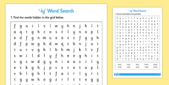 Words Ending In 'ly' Word Search - wordsearch, activity, activities