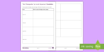 'War Photographer' Translation Activity Sheet - Imagery, poetry analysis, Carole Satyamurti, Edexcel Poetry, GCSE English Literature, Poetry Antholo