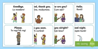 Greetings A5 Flashcards English/Romanian - greetings, a5, flashcards, flashards, flascards, EAL