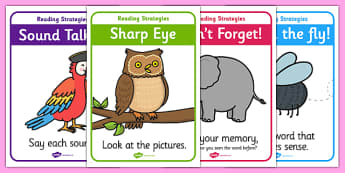 Reading Strategy Display Posters - guided reading, reading