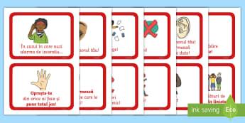 Instrucțiuni în caz de incendiu Cartonașe - t-e-380-fire-alarm-instructions-cards-sentences-arabic-translation  Cartonașe, incendiu, instrucți