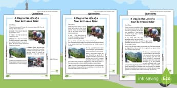 KS1 A Day in the Life of a Tour de France Rider Differentiated Reading Comprehension Activity - Cycling, Literacy, English, Year One, Year Two