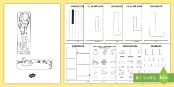 Consolidarea literei L Broșură - alfabetul, alfabetar, litere, sunete, grafisme,Romanian