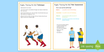 Rugby: Handling - Passing the Ball Techniques Card - Rugby, handling, passing the ball, technique, peer and self assessment