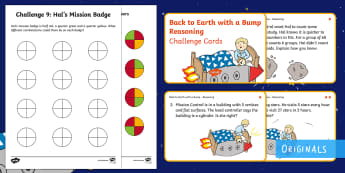 Year 2 Back to Earth with a Bump Reasoning Differentiated Maths Challenge Cards -  Back to Earth with a Bump, space, planets, night and day, dark, sun, Mars, moon, stories, picture b