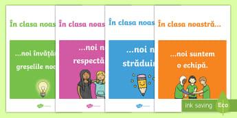 În clasa noastră Planșe - decorul clasei, motivație, inspirație, spirit de echipă, unitate,Romanian
