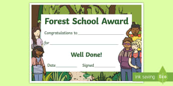 Forest School Award Certificate - outdoor learning, reward, Congratulations, end of year, well done,