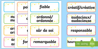 Cartes de vocabulaire : Adjectifs inspirants - Inspirer, courage, différent, encourager, singulier,French