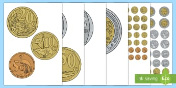 South Africa Money/Currency Cut-Outs - South African Money/Currency, Rand, cent, play money