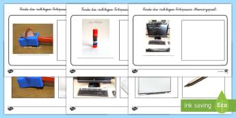 Schulmaterial Finde die Fotopaare Memorykarten - Vokabular, Schule, Material, Spiel, Spaß,German