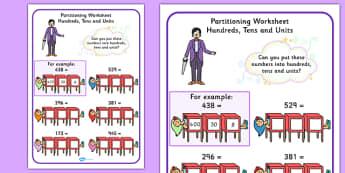 Maths Magician Partitioning Worksheet Hundreds Tens Units