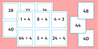 Multiplication and Division Facts for the 4 Times Table Matching Cards - multiplication, division, facts, times table, times tables, 4, matching cards