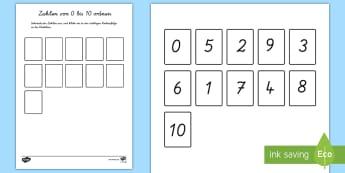 Zahlen von 1 bis 10 ordnen Arbeitsblatt - Ziffern, Nummern, Einer, Zehner, zählen, schreiben, Verstehen,,German