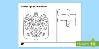 Kolorowanka Polskie Symbole Narodowe - niepodległość, niepodległości, orzeł, orzełek, orzełka, flaga, biało, czerwona, biel, czerw