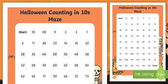 Halloween Counting in 10s Maze Activity Sheet, worksheet