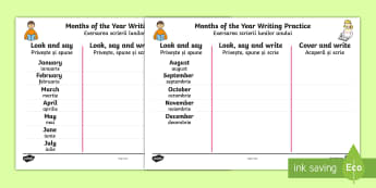 Months of the Year Writing Practice Activity Sheets Romanian/English - practice, write, months of the yearenglish, writting, handwriting, EAL
