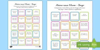 Meine neue Klasse Bingo/Lotto Spiel - Klassenzimmer, Übergang, erster Schultag, neue Klasse, Schuljahresbeginn, Schuljahresanfang, Spiel,
