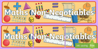 Maths Non-Negotiables Display Banner - Maths, Subject, Non-Negotiable, Display, Banner, Classroom, statutory