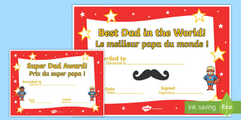 Father's Day Certificates English/French - Father's day blank card templates, design, father's day card, father's day cards, father's day a
