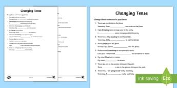 Changing Tense Worksheets - changing tense, past future present, tense worksheets, different tenses worksheets, ks2 literacy, ks2 tenses worksheets