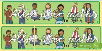 Alles über mich Banner für die Klassenraumgestaltung  - neues Schuljahr, neuer Schüler, neue Schülerin, über mich, uns selbst,German