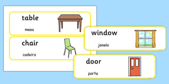 Classroom Furniture labels Portuguese Translation - portuguese, classroom, furniture, labels