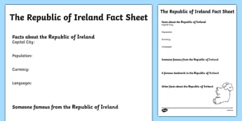 The Republic of Ireland Factsheet Writing Template - republic of ireland, ireland, ireland fact sheet, ireland fact file, ireland worksheet, ks2 geography
