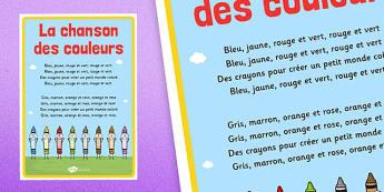 La chanson des couleurs Nursery Rhyme Poster French - french, la chanson, des couleurs, nursery rhyme, poster, display