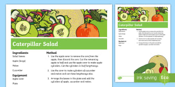 Caterpillar Salad Recipe - The Crunching Munching Caterpillar, Sheridan Cain, life cycle of a butterfly, caterpillar, butterfly