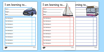 Transport Themed Target and Achievement Sheets - transport, target and achievement, target, achievement, sheets