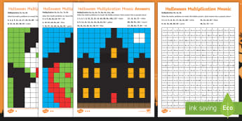 LKS2 Halloween Multiplication Mosaics Differentiated Activity Sheets - times tables, x tables, times tables activity sheets, year 3 times tables, year 4 times tables.