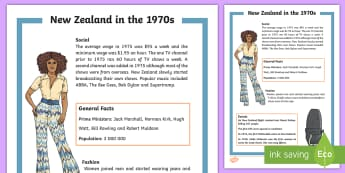New Zealand in the 70s Fact Sheet - decades, fashion, changes, non-fiction, information,