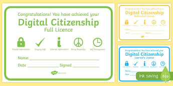 Digital Citizenship Certificates