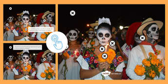 KS3 Mexican Day of the Dead Picture Hotspots Spanish - Halloween, Day, Dead, Vocabulary, Spellings, Mexico, Traditions, Festivities, Celebrations, Hotspots