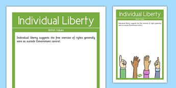 Individual Liberty British Values Display Poster - british values, display poster, display, poster, individual liberty