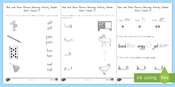 Rise and Shine Phonics Short 'e' Morning Activity Sheets - short vowels, short e, morning work, phonics, worksheets