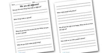 We Are All Different Worksheets - we are all different, worksheets, bullying, diversity, discrimination, behaviour, worksheet, acceptance, differences, pshe