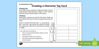 Creating a Character Top Card Activity Sheet, worksheet