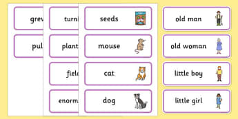 Enormous Turnip Story Word Cards -  Enormous Turnip, word card, flashcards, Traditional tales, tale, fairy tale, little old man, little old woman, seed, cat, dog, mouse, pull, turnip, working together